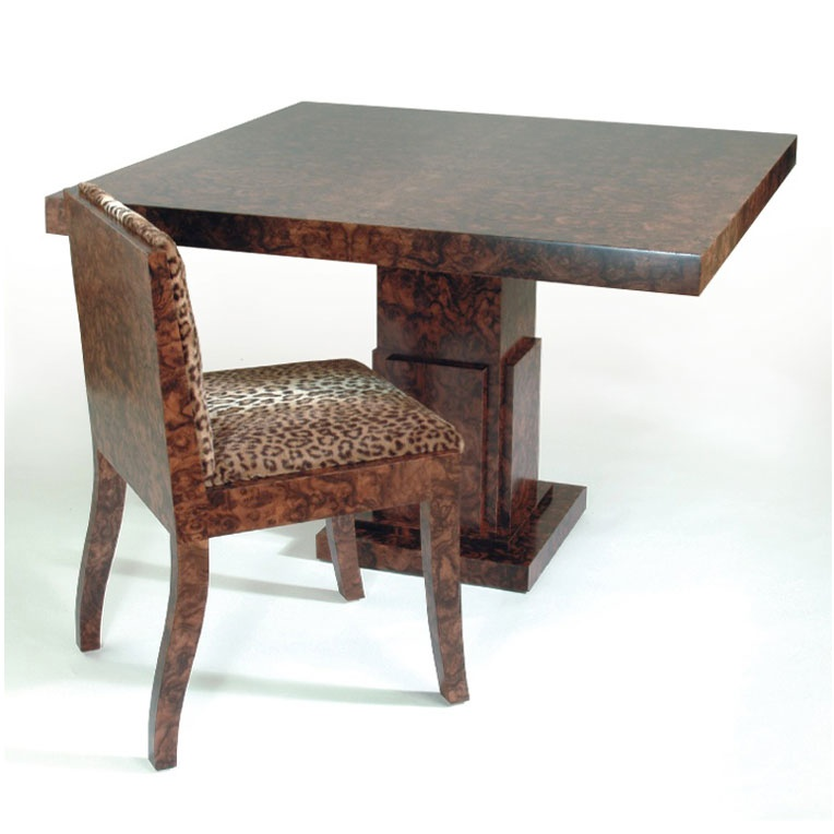 Burr Walnut dining table and chair