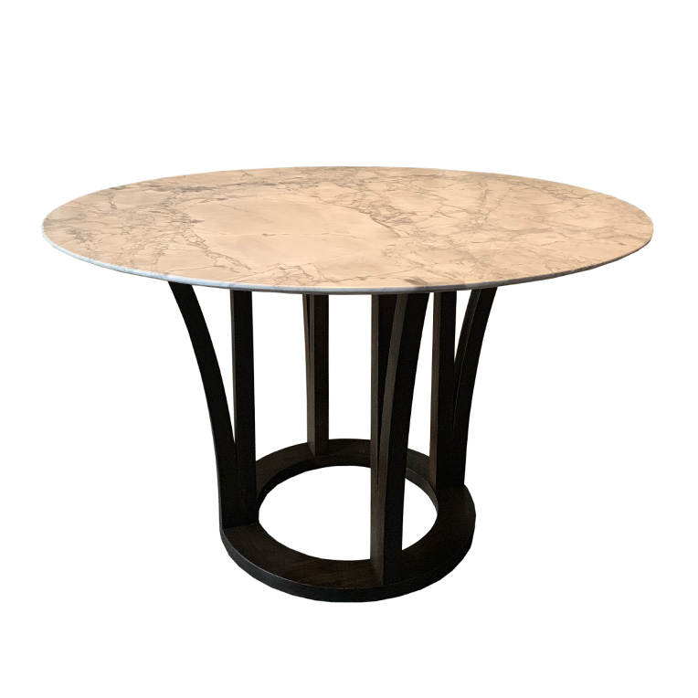 Round table with a marble top and Oak legs